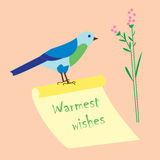 Warmest wishes ,hand-lettering on paper scroll, decorative bird Royalty Free Stock Photography