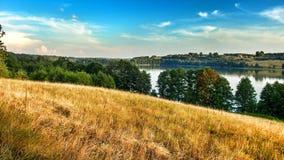 Landscape of Masuria in Poland. Juno Lake near Kiersztanowo. Warmian-Masurian region in northern Poland. View on Juno lake near the village of Kiersztanowo stock photography
