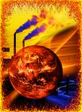 Warming. Global warming and industrial pollution Royalty Free Stock Image
