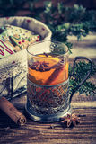 Warming aromatic tea in Christmas evening with cookies Royalty Free Stock Photo
