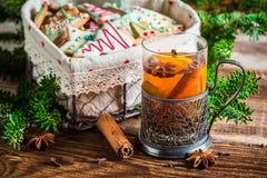 Warming aromatic tea in Christmas evening Stock Photos