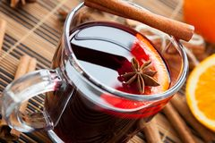 Warming drink in a large cup of mulled wine Stock Photo