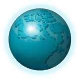 Warming Earth. Planet earth in blue with sunburst; atmosphere shown in blue Royalty Free Stock Photography