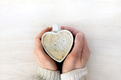 Warming feelings turn into love coffee Royalty Free Stock Photography