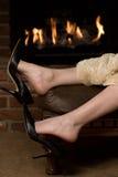 Warming feet stock photos