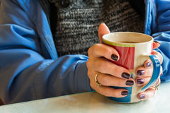 Warming Hands Hot Drink Stock Images