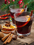 Warming mulled wine and spices Stock Photo