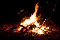 Warming night fire. This was taken when I was camping with my friends. As always the fire has that mystical and magical look, that warming feeling when you look Stock Photos