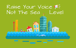 Warming and Sea Level Increase Vector Concept. Global warming and sea level increase vector. Flat design. City with humans drowning by sea level rise Stock Images