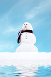 Warming snowman. Melting snowman against blue sky Royalty Free Stock Photo