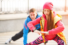 Warming before street workout Royalty Free Stock Photos