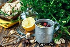 Warming tea with lemon in metal mug over dark wooden background. Stock Photos