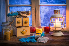 Warming tea in a winter cottage Royalty Free Stock Photo
