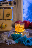Warming tea in the winter evening Stock Photos