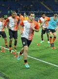 Warming-up игроков перед футбольным матчем Стоковая Фотография RF