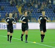 Warming-up игроков перед футбольным матчем Стоковые Фото