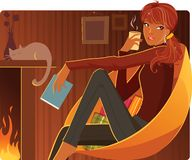 Warming up. Cute girl warming herself up with a cup of coffee royalty free illustration