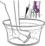 Warming up feet in a foot pan with warm water after the rain vector illustration