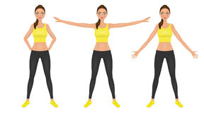 Warming-up fit pretty woman in yellow crop top and leggings.  Royalty Free Stock Photography
