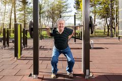 Warming up in the fitness park Royalty Free Stock Photo