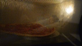 Warming up pizza in a microwave oven Stock Images