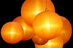 Warmly colored balloon lamps Royalty Free Stock Photo