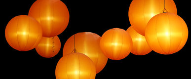 Warmly colored balloon lamps Royalty Free Stock Photos