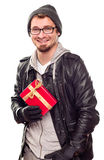 Warmly Dressed Handsome Young Adult Holding Gift Royalty Free Stock Images