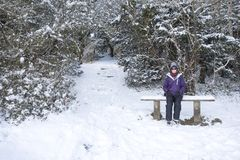 Woman sitting in the snow Royalty Free Stock Image