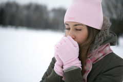 Warms hands. Girl in the park in winter warms the hands of breath Royalty Free Stock Photography