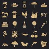 Warmte geplaatste pictogrammen, eenvoudige stijl stock illustratie