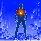 Warmth. Vector illustration of a man with an inner fire burning in his chest royalty free illustration