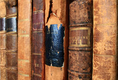 The Warmth of Antique Books. These 18th & 19th century vintage volumes exude warmth and character Stock Photo