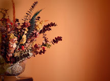 Warmth dry flowers bouquet. Warmth image with a dry flowers bouquet over an orange wall stock image