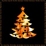 Warmth of holidays christmas card with xmas tree silhouette royalty free stock photography