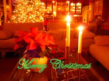 Warmth and Light Merry Christmas Greeting Stock Images