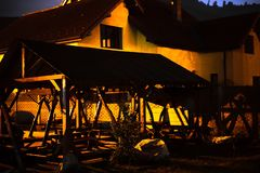 The warmth of the night. Night line from town inThe warmth of the night on the Romanian pavilion royalty free stock photography
