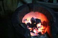 Warmth on the stove in valley cool Stock Photo