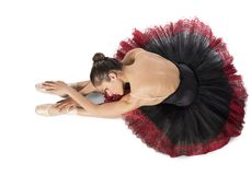 Warmup classical dancer. With point and tutu Stock Photography