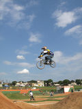 Warmup jump before motocross bicycle race royalty free stock photography