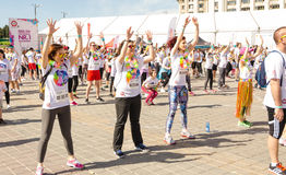 Warmups for The Color Run Stock Image