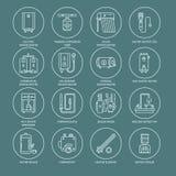 Warmwasserbereiter, Kessel, Thermostat, elektrische, Gas, Solarheizungen und andere HausHeizung zeichnen Ikonen Dünnes lineares Stockfoto