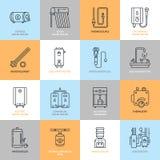 Warmwasserbereiter, Kessel, Thermostat, elektrische, Gas, Solarheizungen und andere HausHeizung zeichnen Ikonen Dünnes lineares Lizenzfreie Stockfotografie