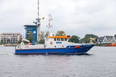 German police ship drives at public event hanse sail Stock Photos