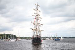 Sailing ship mercedes at public event hanse sail. Warnemuende / Germany - August 12, 2017: sailing ship mercedes at public event hanse sail in warnemuende Royalty Free Stock Photography