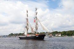 Sailing ship mercedes at public event hanse sail. Warnemuende / Germany - August 12, 2017: sailing ship mercedes at public event hanse sail in warnemuende Stock Photos