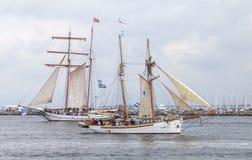Sailing ships at public event hanse sail. Warnemuende  / Germany - August 12, 2017: sailing ships at public event hanse sail in warnemuende, germany Stock Photography
