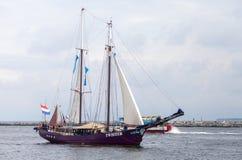 Sailing ships at public event hanse sail. Warnemuende  / Germany - August 12, 2017: sailing ships at public event hanse sail in warnemuende, germany Royalty Free Stock Image
