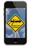 Warnen des abgelenkten Fahrens Stockfotos