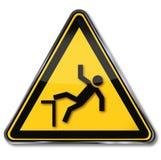 Warnen des Risikos von Fällen Stockbilder